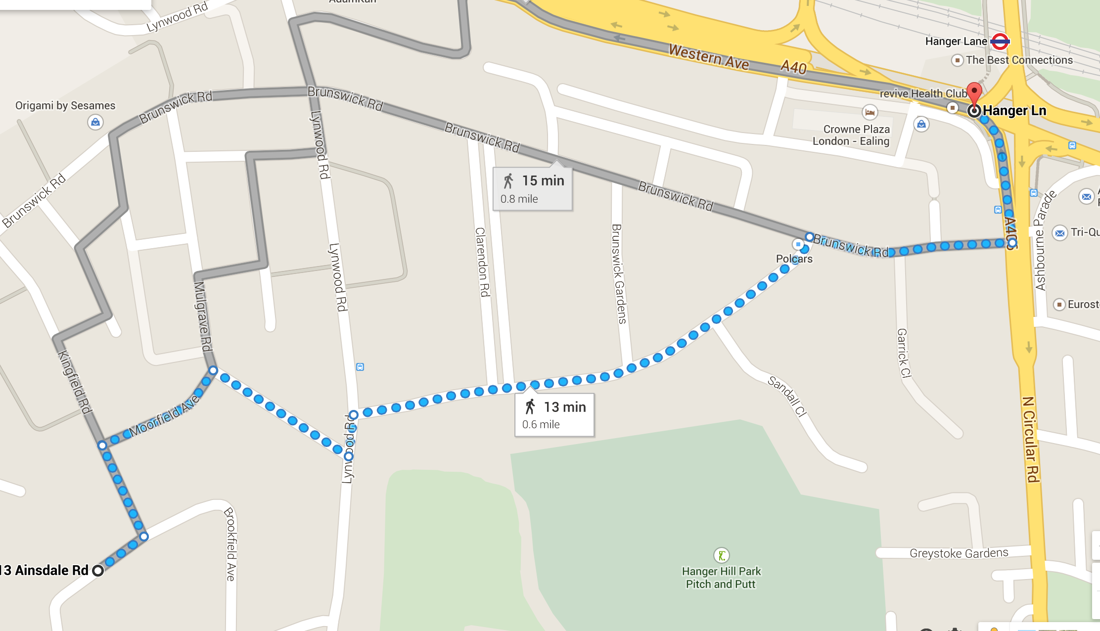 Ainsdale Road walking route