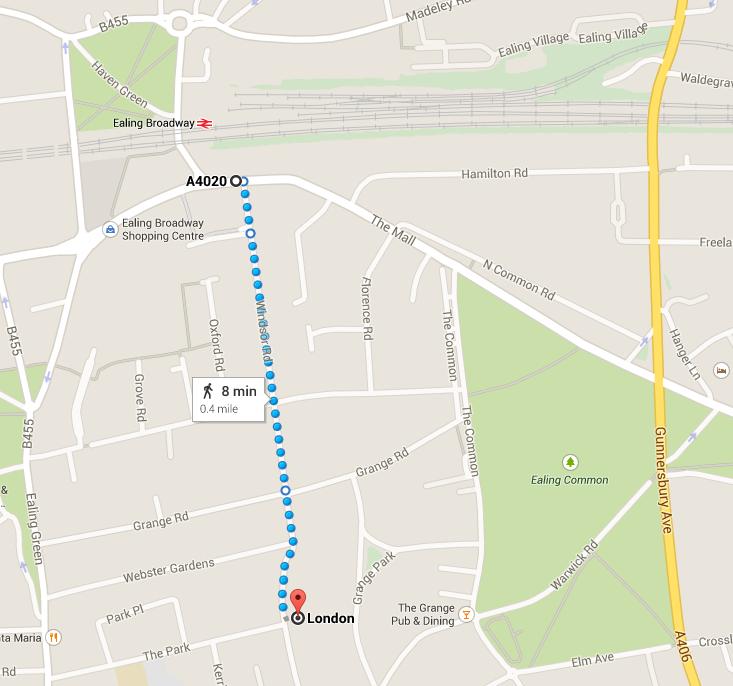Kenilworth Road walking route
