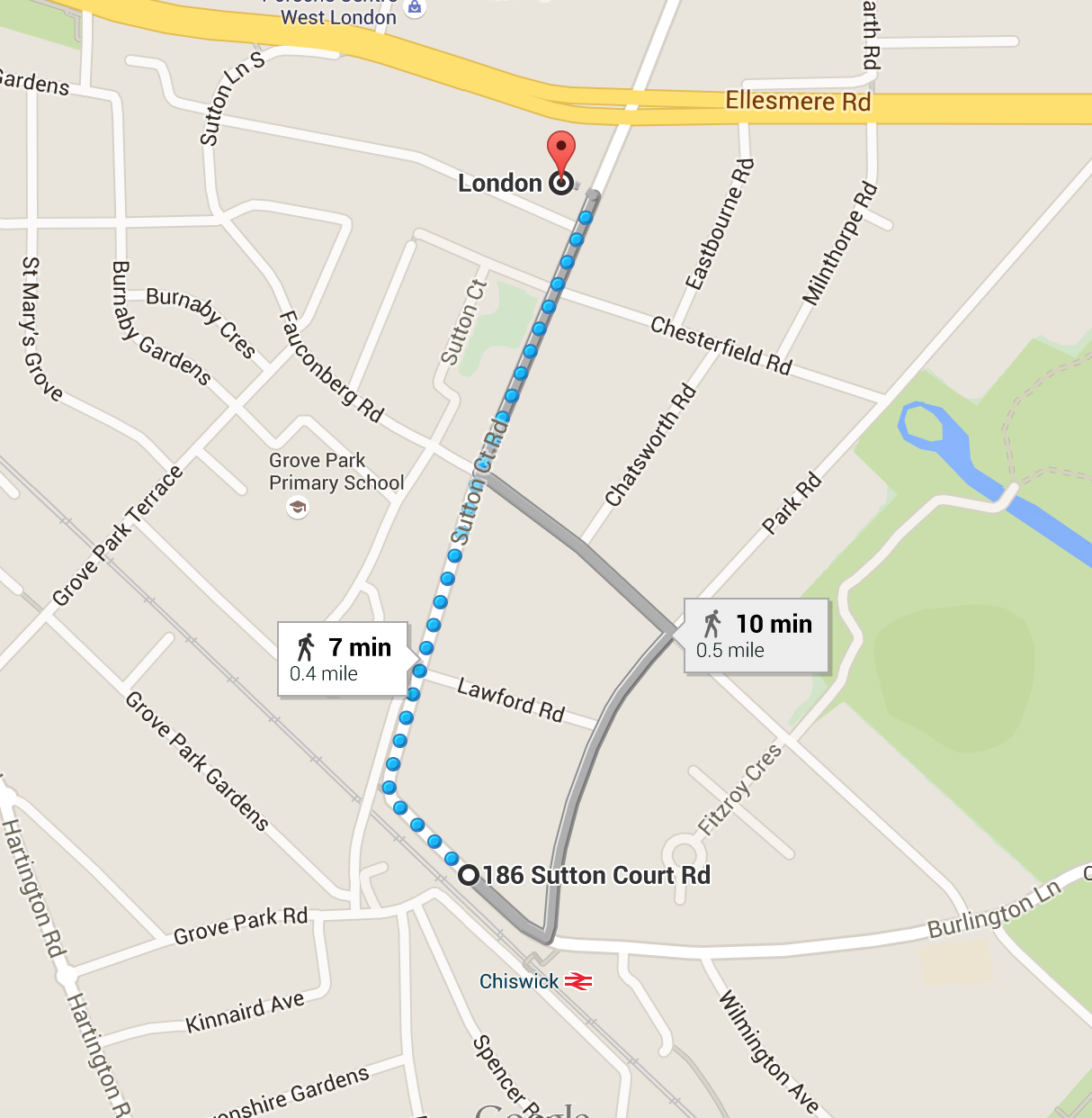 St Georges Mews walking route
