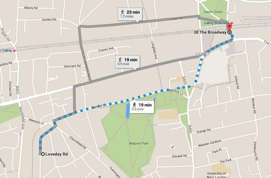 Loveday Road walking Map